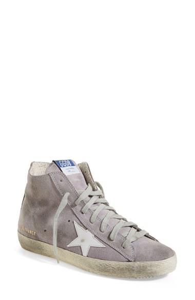 Golden Goose Pewter Francy Leather Hi Top Sneakers In Metallic