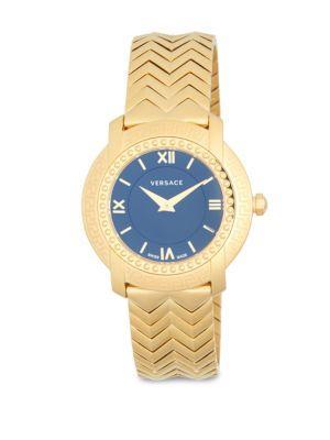 Versace Stainless Steel Chevron Patterned Bracelet Watch In Gold
