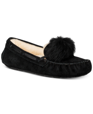 dbf8ca69bcb20 Ugg Women's Dakota Moccasin Pom Pom Slippers In Black | ModeSens