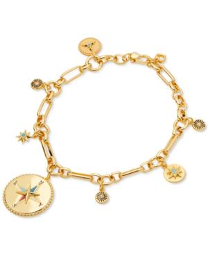 Kate Spade Gold-tone Pave & Semiprecious Gemstone Compass Charm Bracelet