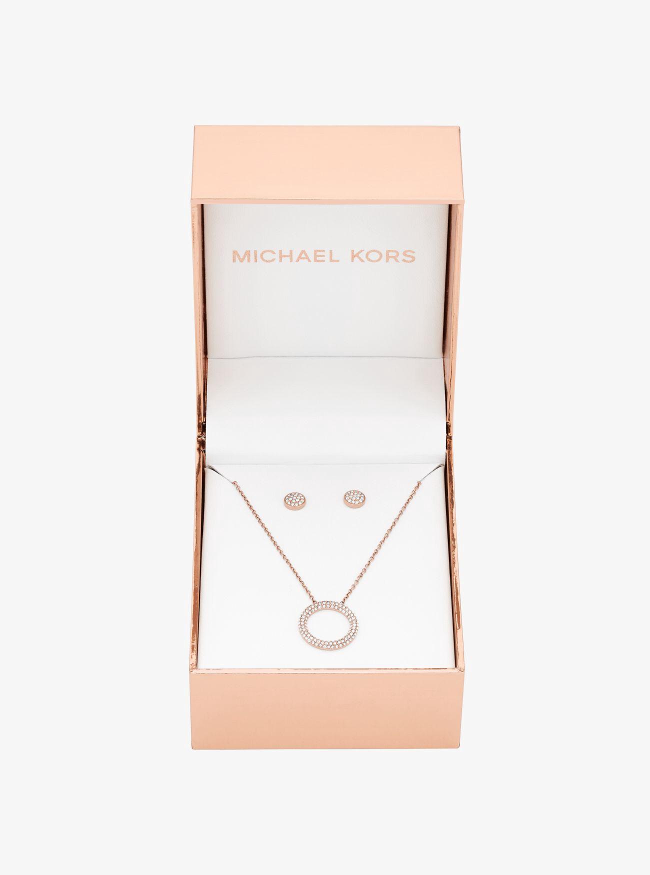 Michael Kors PavÉ Rose Gold-tone Pendant Necklace And Earrings Set