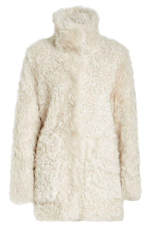 Yves Salomon Fur Coat In Beige