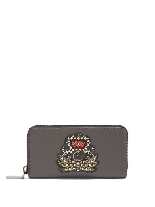 Christian Louboutin Panettone Crest-Embellished Leather Wallet In Grey