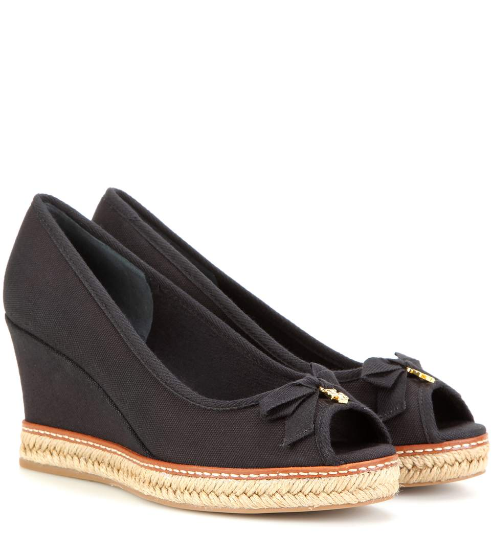 7dacc35334e 'Jackie' Canvas Espadrille Wedge Peep Toe Pumps in Llack