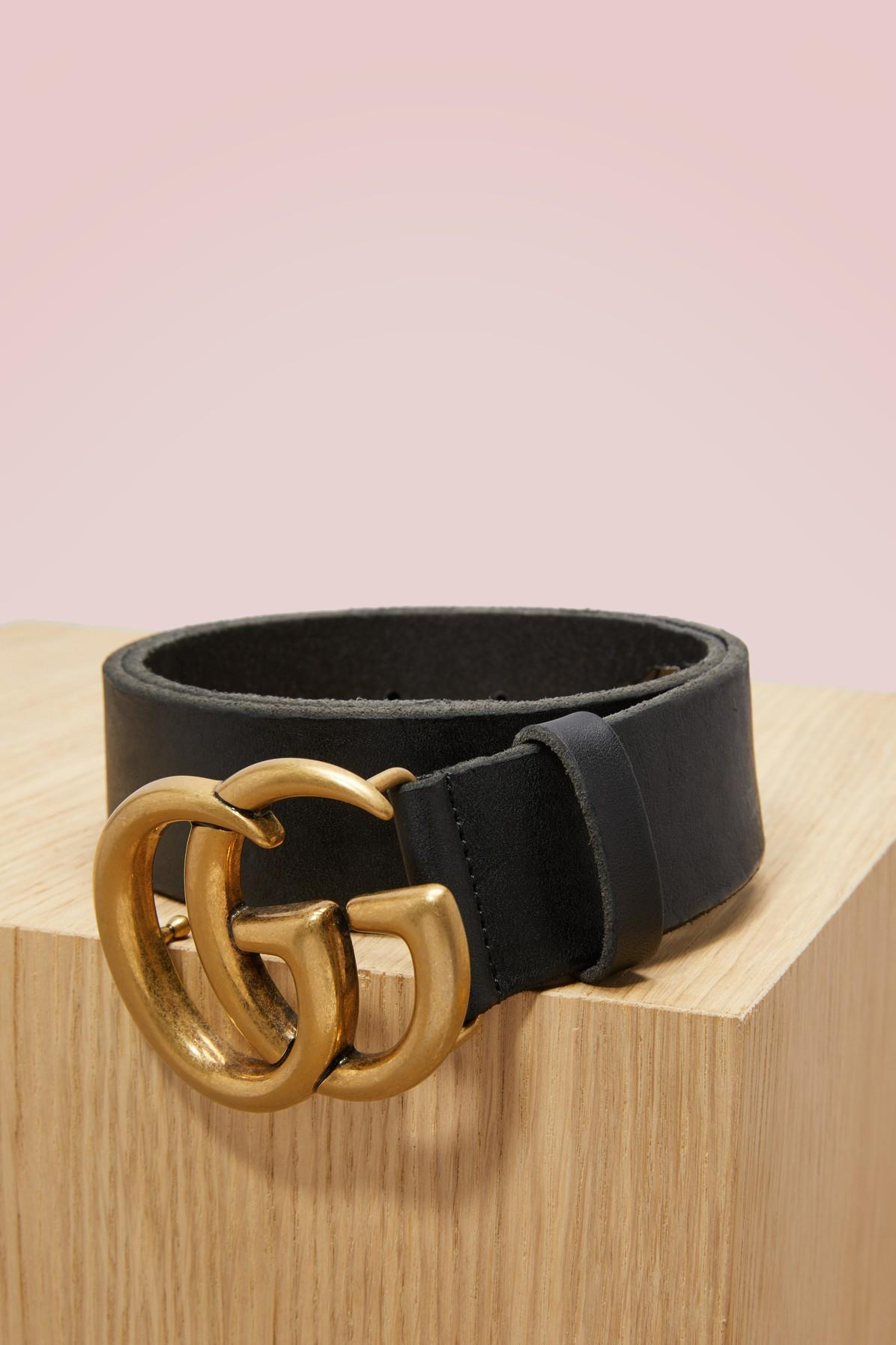 1117e2fff6ae Gucci Leather Belt With Double G Buckle In Nero | ModeSens