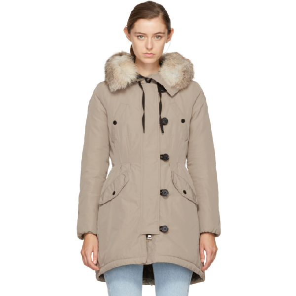 Moncler Aredhel Fox Fur Trim Down Parka In Beige