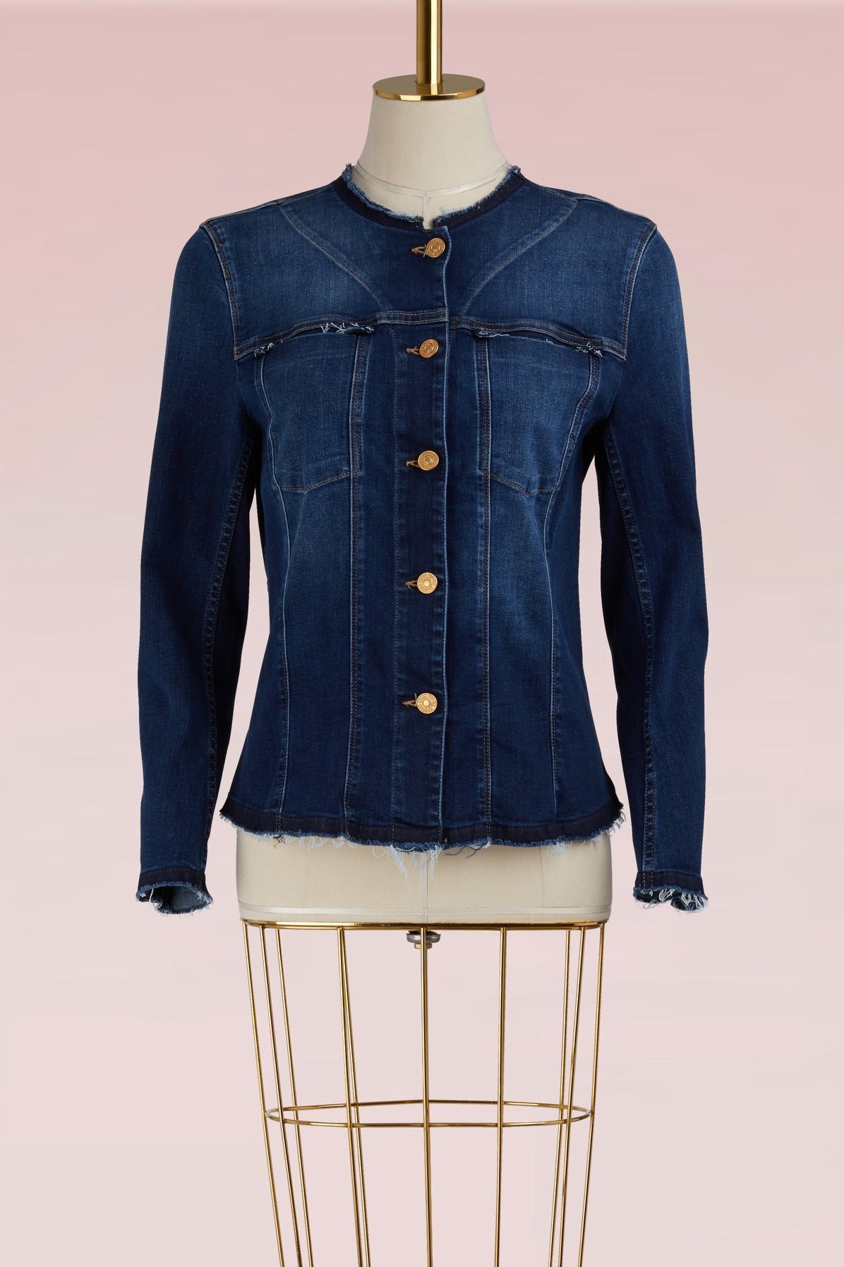 7 For All Mankind No Collar Denim Jacket In Duchess