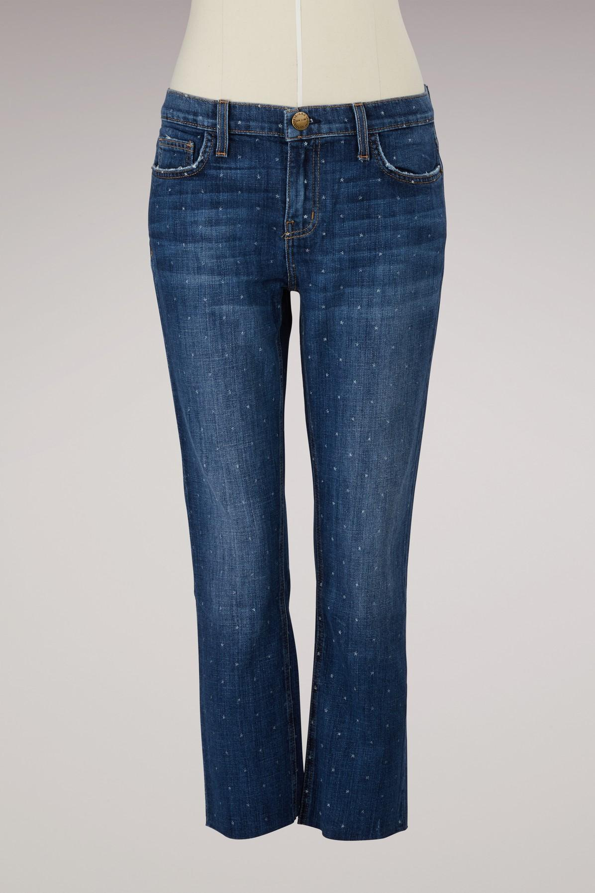 256be416597 Current Elliott Cropped Straight-Leg Polka Dot Jeans In In Love With White  Stars