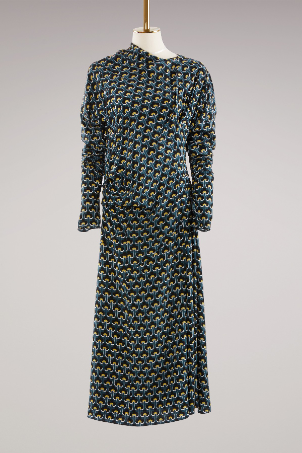 Marni Printed Silk Midi Dress In Dark Limoges