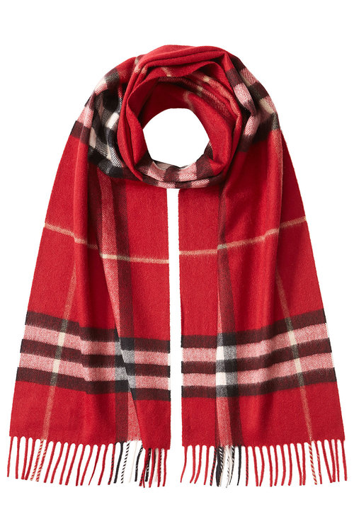 Burberry Giant Check Cashmere Scarf In Red
