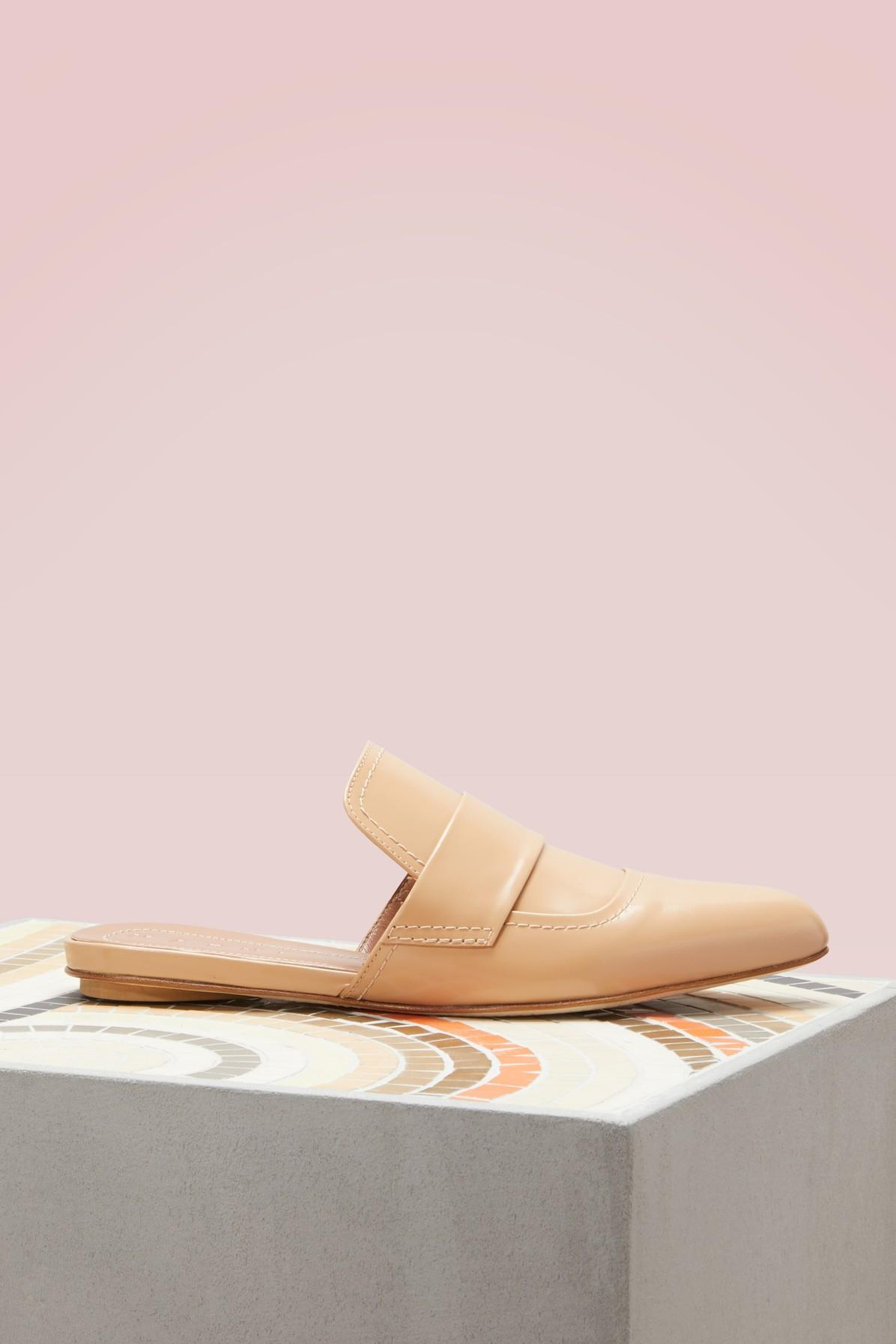 Marni Leather Pointed-Toe Slippers In Tan