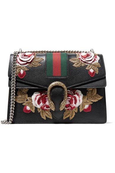 7bc23ef72f82 Gucci Dionysus Medium AppliquÉD Textured-Leather Shoulder Bag In Black