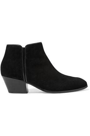 Giuseppe Zanotti Woman Leather-Trimmed Suede Ankle Boots Black