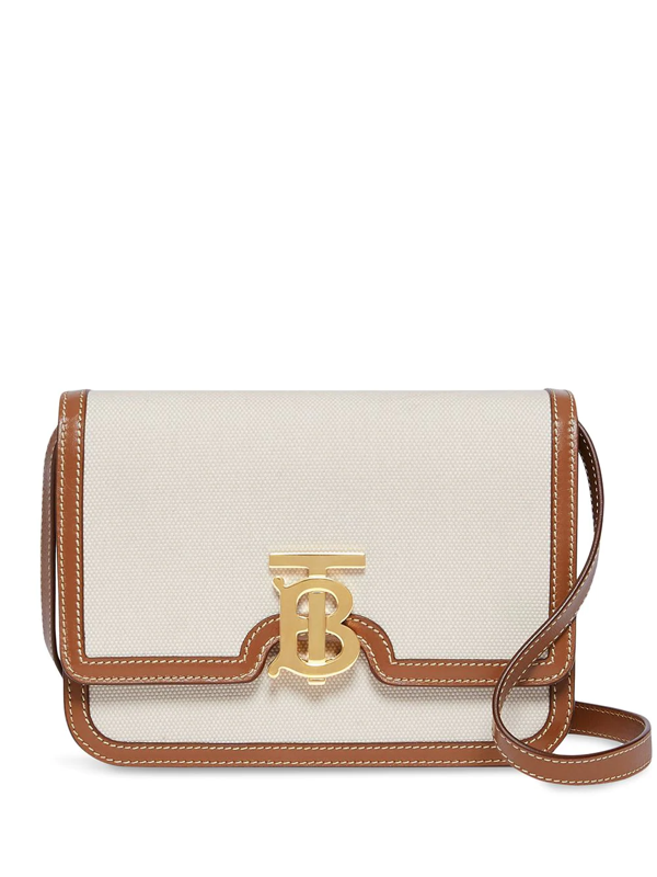 Burberry Small Two-tone Canvas And Leather Tb Bag In Neutrals