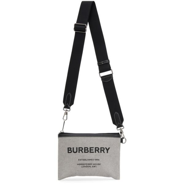 Burberry Grey Canvas Callum Crossbody Bag In Black