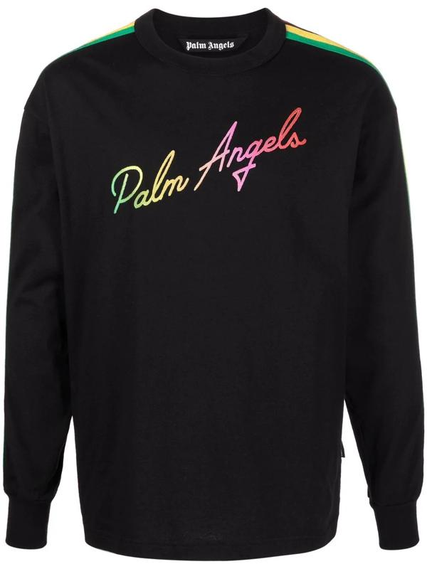Palm Angels Men's Miami Logo Multicolor Long-sleeve Top In Schwarz