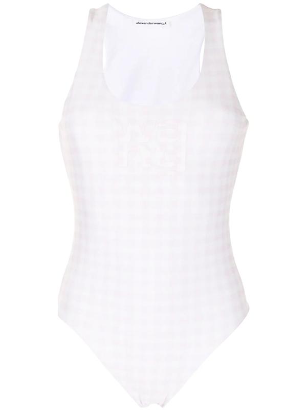 Alexander Wang T Logo Print Gingham Check Sleeveless Bodysuit In Pink