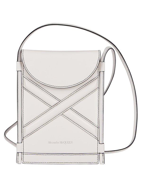 Alexander Mcqueen Ivory Leather The Curve Micro Crossbody Bag In White