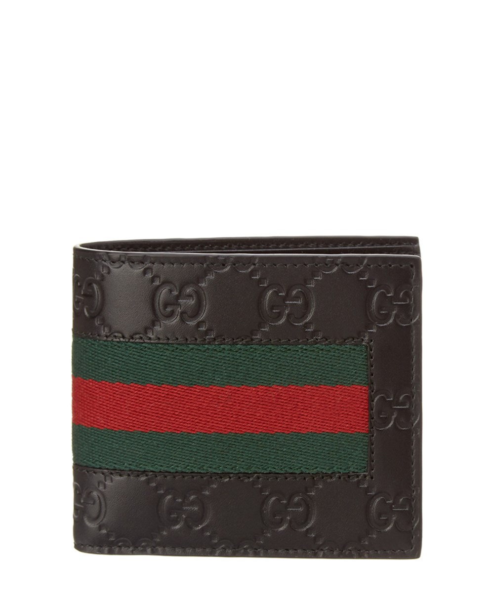 a80aa702ad8 Gucci Signature Web Gg Embossed Leather Coin Wallet In Black
