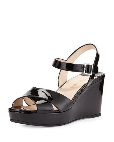 Prada Black Patent Leather Strappy Slingback Wedge Sandals In Nero