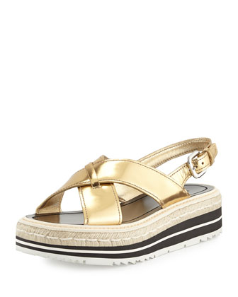 Prada Gold Leather Platform Slingback Sandals In Platin