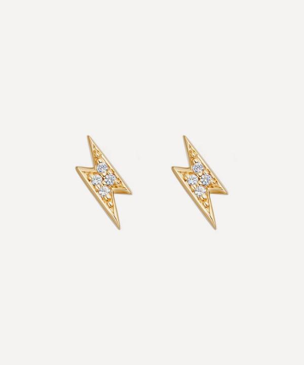 Astley Clarke Gold Plated Vermeil Silver Tiny Lightning Bolt White Sapphire Stud Earrings