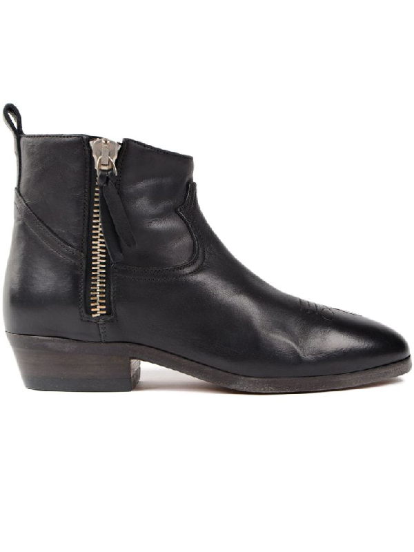 Golden Goose Viand Black Leather Ankle Boots