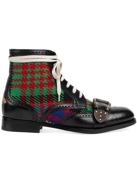Gucci Embellished Leather And Tartan Tweed Brogue Boots In Black