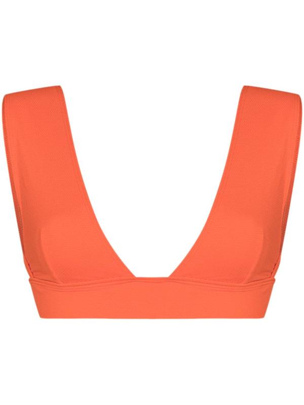 Alexandra Miro Ally V-neck Bikini Top In Orange