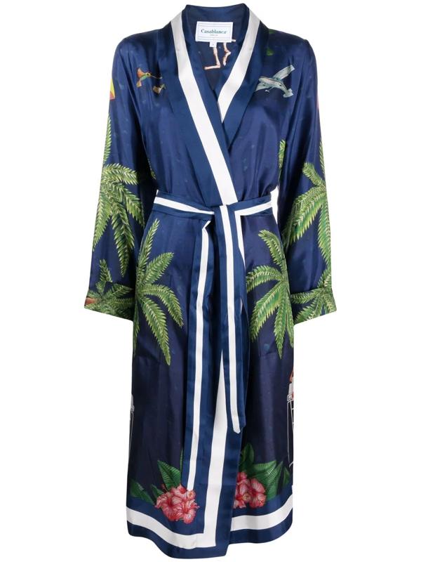 Casablanca Surf Club Midnight Belted Jacket In Blue