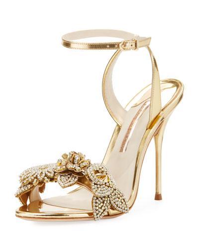 9701acf632f3 Sophia Webster Lilico Gold Crystal-Embellished Leather Sandals In Metallic