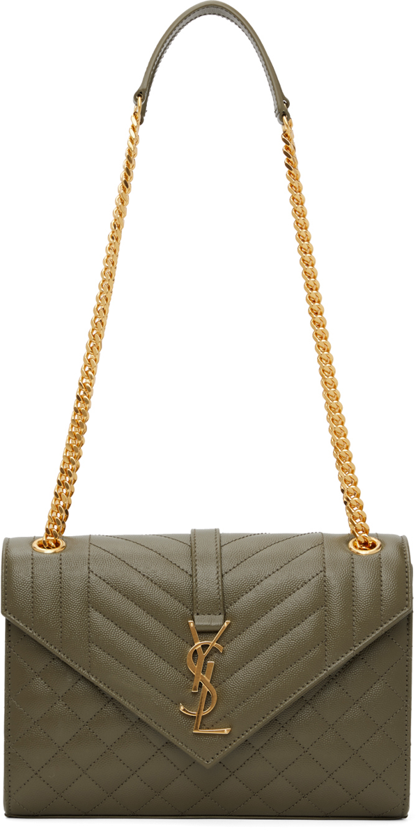 Saint Laurent Envelope Medium Quilted Textured-leather Shoulder Bag In Army Green