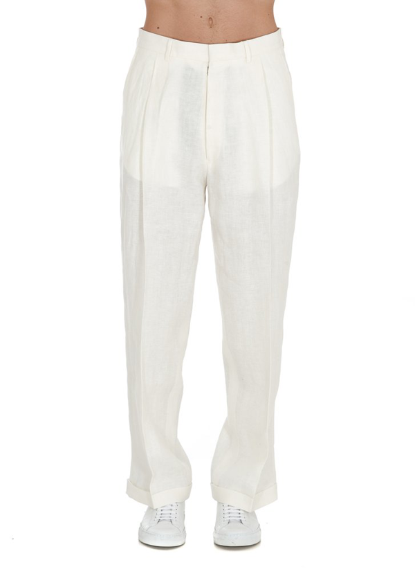 Maison Margiela Pleat Detailing Tailored Trousers In White