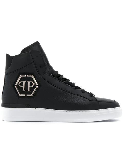 """Philipp Plein Hi-Top Sneakers """"Phil"""" In Black"""