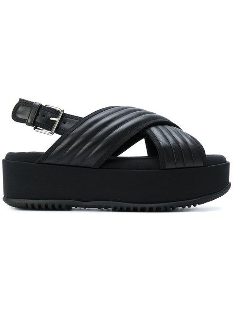 94e49ed9f810 Marni Quilted-Leather Cross-Strap Flatform Sandals In Black