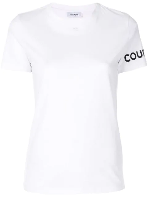 CourrÈGes Logo Detail Print Cotton Jersey T-Shirt In White
