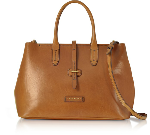 The Bridge Dalston Large Leather Tote Bag W/shoulder Strap In Cognac