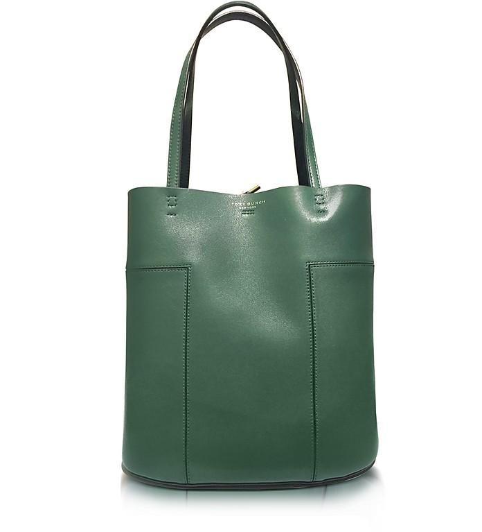1829f7e14c3 Tory Burch Block-T Leather Medium Tote In Selva Green Gold