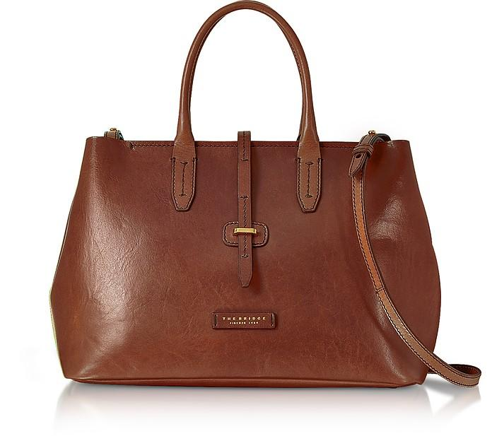 The Bridge Dalston Large Leather Tote Bag W/shoulder Strap In Brown