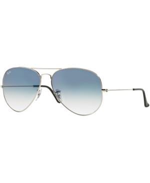 Ray Ban Ray-Ban Unisex  Rb3025 -  Frame Color: Silver, Lens Color: Light Blue Gradient, Size 62-14/140 In Silver/Blue