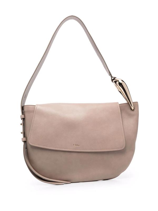 Chloé Kiss Medium Leather Shoulder Bag In Gray