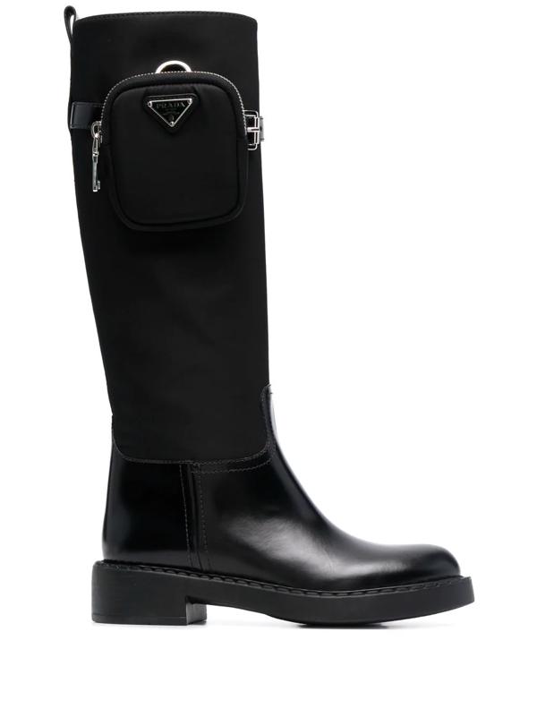 Prada Nylon Zip-pocket Platform Riding Boots In Schwarz