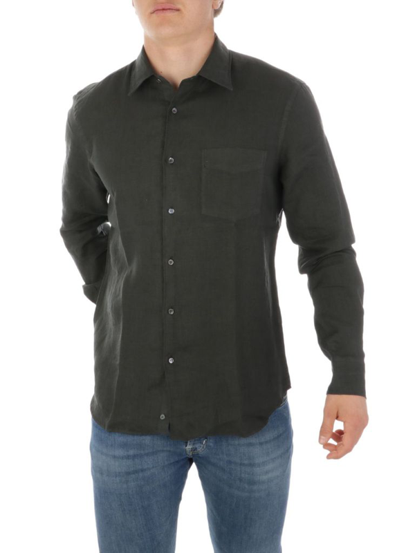 Aspesi Men's Grey Linen Shirt