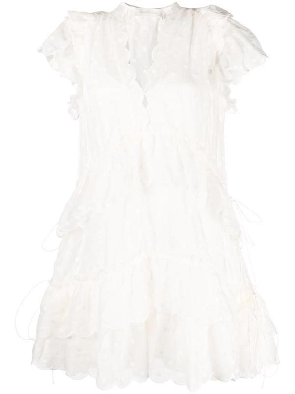 Zimmermann Polka Dot-print Scallop-edge Dress In White