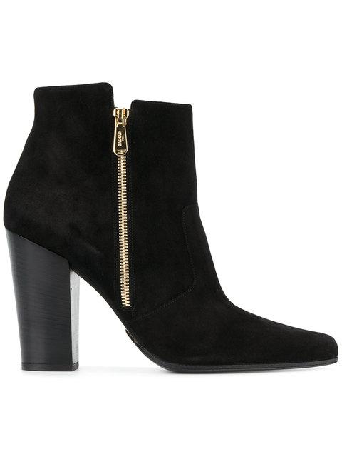 Balmain Anthea Suede Point-Toe Ankle Boots In Black