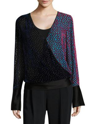 Diane Von Furstenberg Long-sleeve Velvet Top In Multi