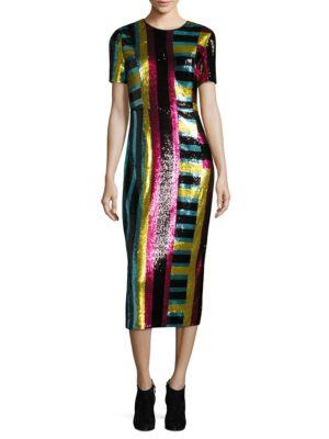 de313257 Diane Von Furstenberg Striped Sequin-Embellished Midi Dress In Multi ...