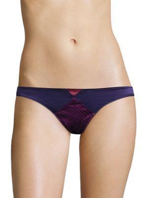 Fleur Du Mal Satin Textured Thong In Multiberry