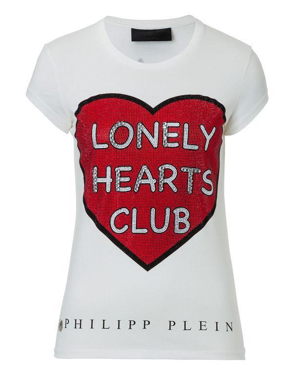 "Philipp Plein T-shirt Round Neck Ss ""lonely Hearts"""