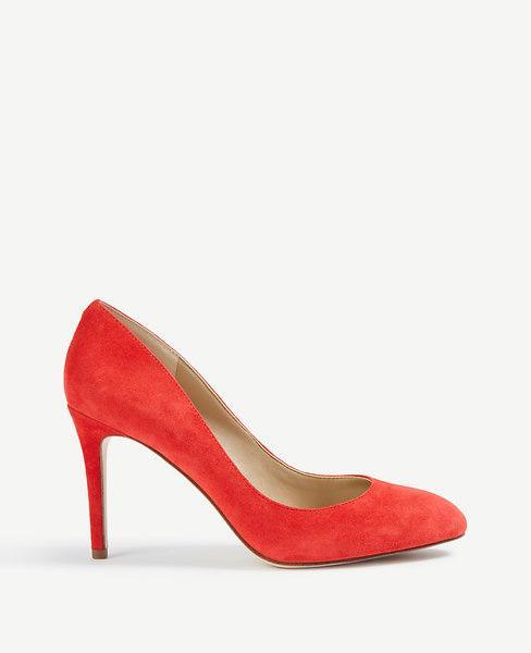Ann Taylor Skyler Suede Pumps In Ravishing Red